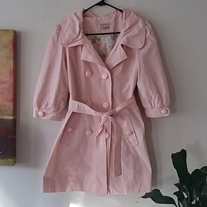 1960s VTG TRENCH coat lined tie waist large button